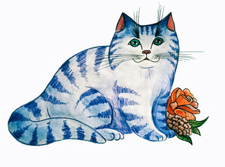 A fat blue cat with red flower. Watercolor illustration