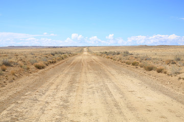 County road 57 near Chaco Culture in New Mexico, USA