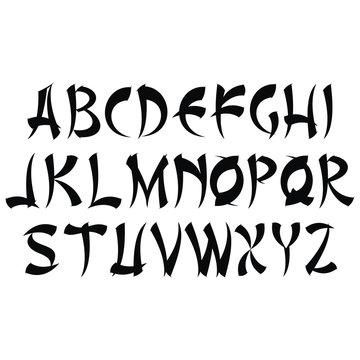 Asian style decorative alphabet.