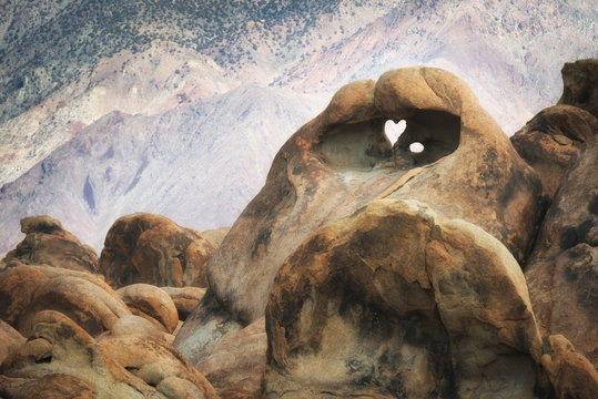 Heart shape in rocks, Alabama Hills, California, United States