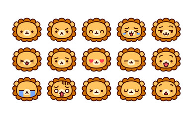 Set Of Cute Cartoon Lion Icons Isolated
