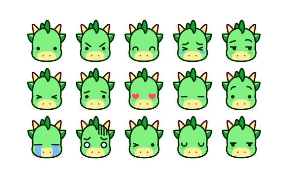 Set Of Cute Cartoon Dragon Icons Isolated