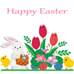 cute Easter Bunny with basket of painted eggs, yellow chickens and spring flowers on white background