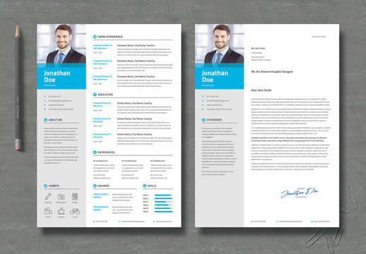 Resume and Cover Letter with Blue and Gray Accents