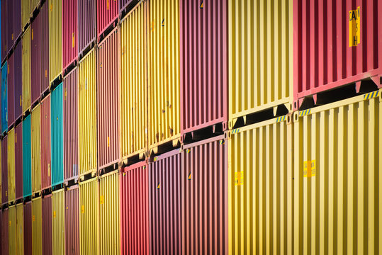 Close-up of stacked shipping containers, Long Beach, California, United States