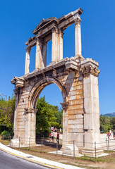 Fototapete - Hadrian's Gate or Arch of Hadrian, Athens, Greece. It is one of the main landmarks of Athens. Famous Ancient Greek monument in the Athens center. Remains of architecture of the antique Athens city.