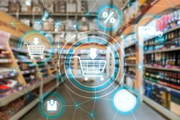 Obraz Shopping cart Ecommerce Marketing channel distribution concept on supermarket background. - fototapety do salonu