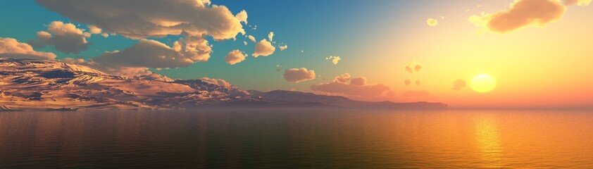 Panorama of the sea sunset, sea and mountains Wall mural