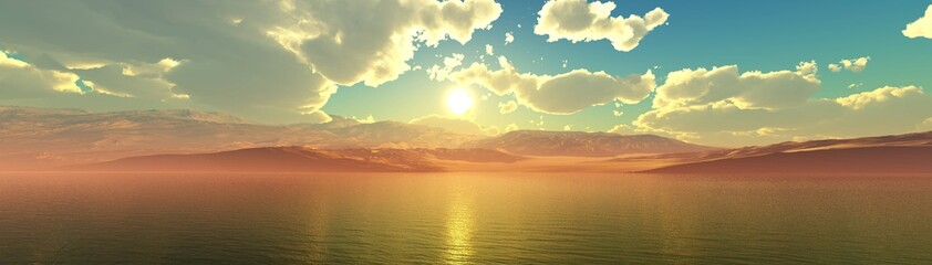 Panorama of the sea sunset, sea and mountains