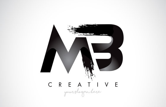 MB Letter Design with Brush Stroke and Modern 3D Look.