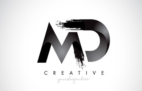 MD Letter Design with Brush Stroke and Modern 3D Look.