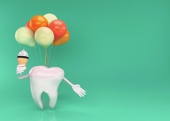 Happy tooth character with ice cream, Concept image for healthy teeth and gum that is not sensitive to cold. 3D illustration.