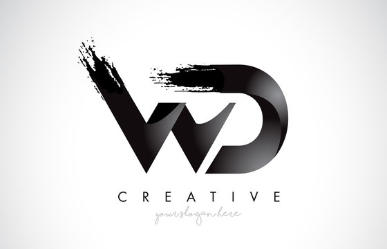 WD Letter Design with Brush Stroke and Modern 3D Look.