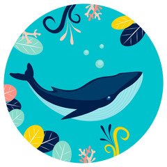 Blue whale under water in round background. Flat style. Cartoon vector
