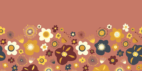 Summer flowers seamless vector border. Repeating background.