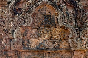 carving in Banteay Srei at Angkor  Fototapete