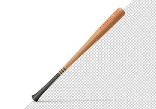 Baseball Bat Isolated on White Mockup