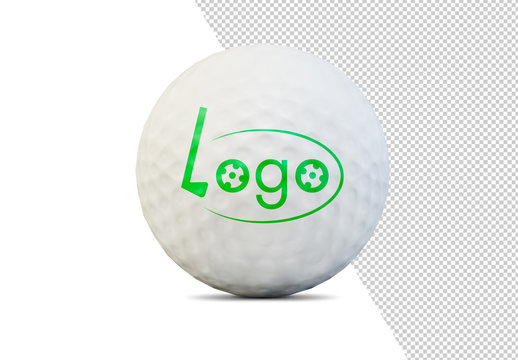 Golf Ball Isolated on White Mockup