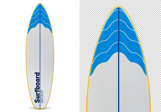 Surfboard Isolated on White Mockup
