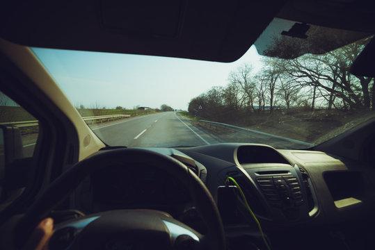 Driver theme. Car window view