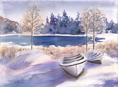 Beautiful winter landscape with lake, forest and boat. Hand drawn watercolor illustration of Frosty countryside. .