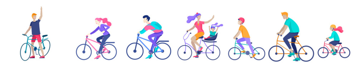 Young woman and man ride the bike, family and friends riding bicycles. Mom, dad and children on bike and cycling together. Sports outdoor activity. Cartoon vector illustration Papier Peint