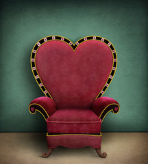 Conceptual illustration or poster for  fairy tale Wonderland with  red armchair