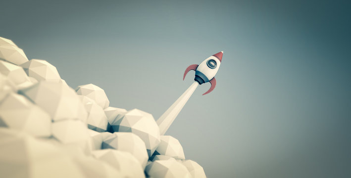 Raketenstart - Konzept Start-Up oder Unternehmensgründung