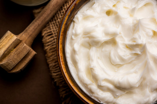 Homemade white Butter or Makhan/Makkhan in Hindi, served in a bowl. selective focus