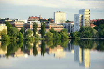 Modern apartment buildings in Stockholm area.