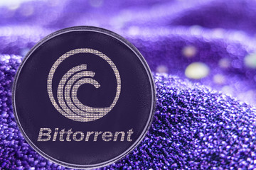 Coin cryptocurrency bittorrent on modern neon background. BTT