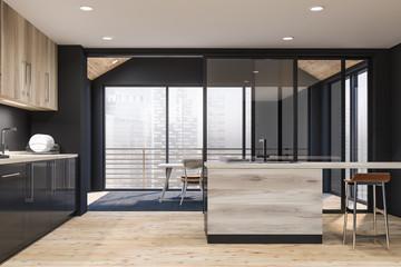 Wooden style kitchen interior. Open space.