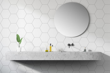 Modern design bathroom interior. close up.