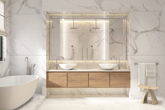 3d rendering of a modern white marble bathroom
