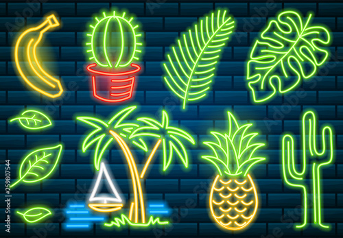 Set food and drink neon sign  Neon sign, bright signboard