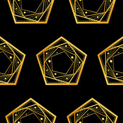 Seamless pattern. Simple abstract golden geometric shapes from intersecting lines, pentagons on black background. Eps10 vector illustration.