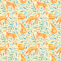 Seamless pattern of a fox,heart and floral.Forest animals.Watercolor and pencil color hand drawn illustration.Orange background.