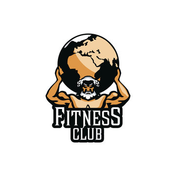 Atlas sign. Mighty Titan, holding on his shoulders the vault of heaven. Bodybuilding fitness logo