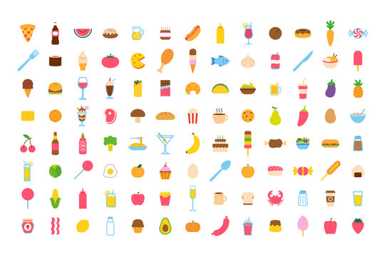 Vector Cartoon Food Icon Set