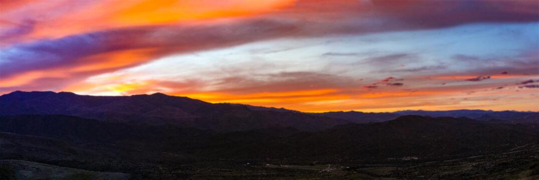 Sunset over Mingus Mountains and Verde Valley near Sedona, Arizona in Cottonwood