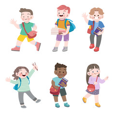 kids go to school vector illustration set