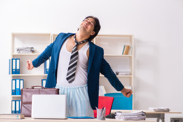 Employee coming to work straight from bed