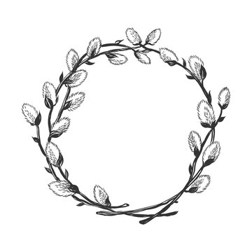Hand drawn willow branch circle frame.