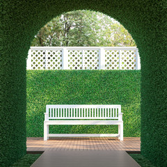 Ivy tunnel 3d render,  There is a curved shape tunnel with a wooden walkway,white lattice fence,furnished with white wood bench.