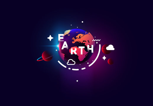 Earth around the planet abstract design style