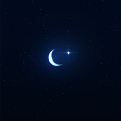 Night background with crescent moon on starry background