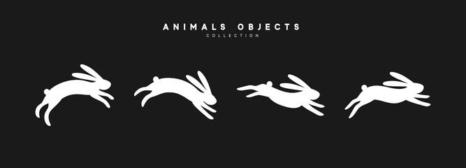 Set of rabbit illustration. Collection white bunny isolated on black background