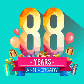 88 Years Anniversary Celebration Design, with gift box and balloons, red ribbon, Colorful polygonal logotype, Vector template elements for your birthday party.
