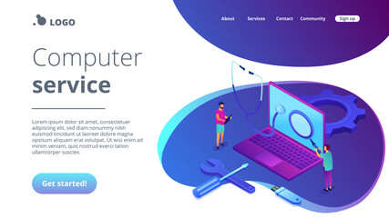 Computer technicians repair laptop with magnifier, stethoscope and tools. Computer service, laptop repair center, notebook setup service concept. Isometric 3D website app landing web page template Wall mural