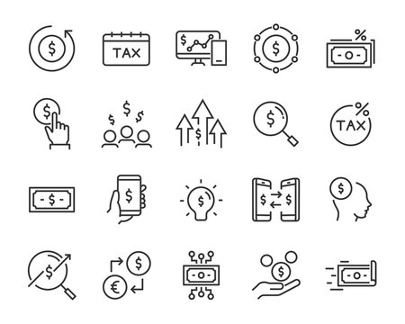 set of money icons, such as finance, statement, bank, coin, stock, currency, exchange